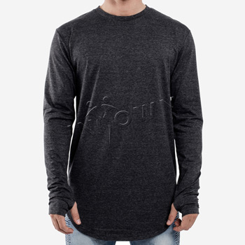 Longsleeve Curved Hem Charcoal Shirt
