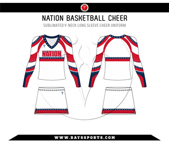 Sublimated V Neck Long Sleeve Cheer Uniform