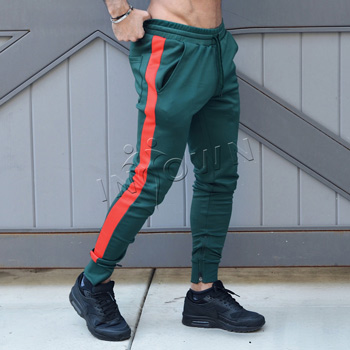 Green and Red Joggers with zippers